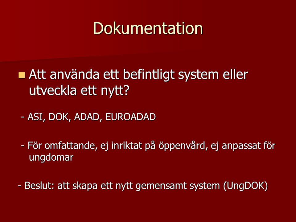  Att använda ett befintligt system eller utveckla ett nytt? - ASI, DOK, ADAD, EUROADAD - ASI, DOK, ADAD, EUROADAD - För omfattande, ej inriktat på öp