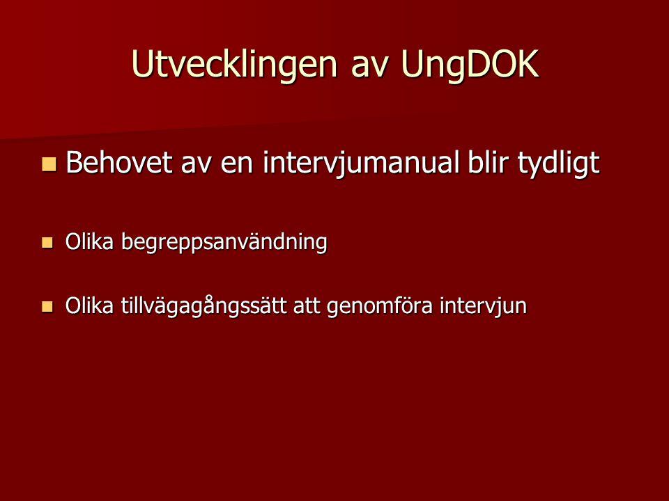  Behovet av en intervjumanual blir tydligt  Olika begreppsanvändning  Olika tillvägagångssätt att genomföra intervjun Utvecklingen av UngDOK