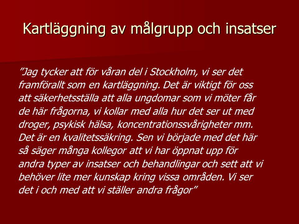 """Kartläggning av målgrupp och insatser """"Jag tycker att för våran del i Stockholm, vi ser det framförallt som en kartläggning. Det är viktigt för oss at"""