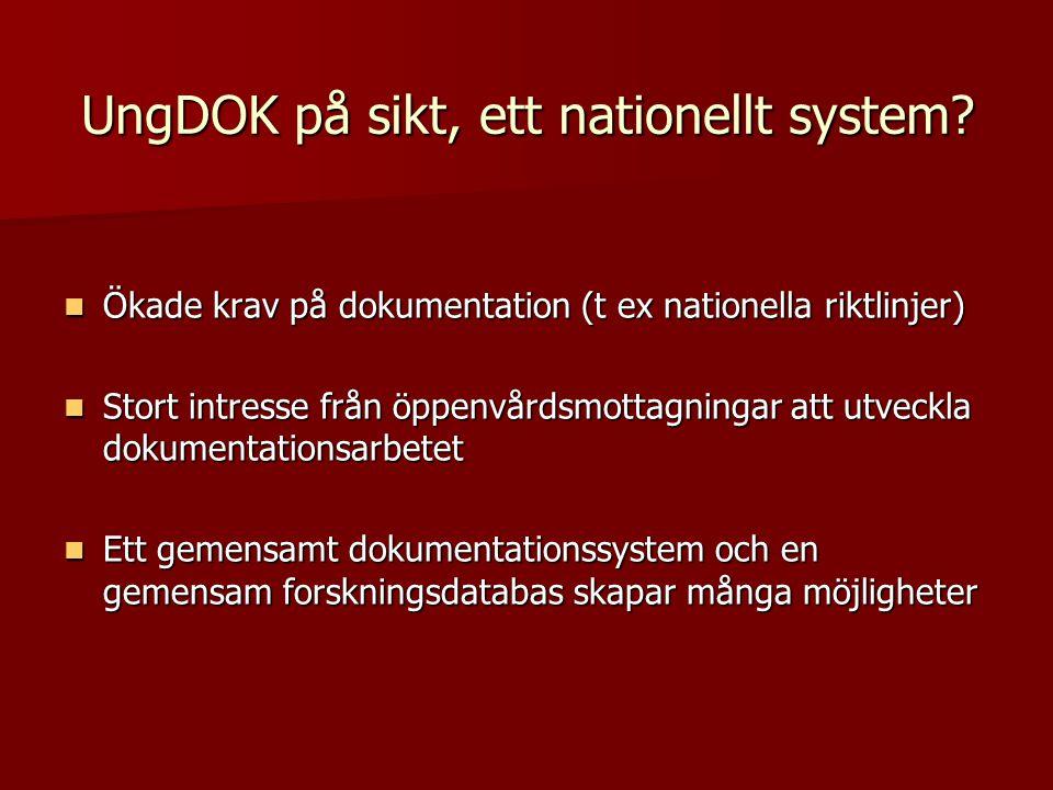  Ökade krav på dokumentation (t ex nationella riktlinjer)  Stort intresse från öppenvårdsmottagningar att utveckla dokumentationsarbetet  Ett gemen