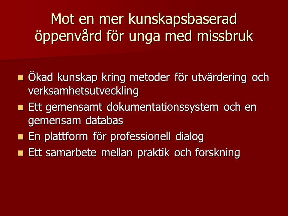  Ökad kunskap kring metoder för utvärdering och verksamhetsutveckling  Ett gemensamt dokumentationssystem och en gemensam databas  En plattform för