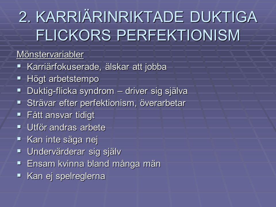2. KARRIÄRINRIKTADE DUKTIGA FLICKORS PERFEKTIONISM Mönstervariabler  Karriärfokuserade, älskar att jobba  Högt arbetstempo  Duktig-flicka syndrom –