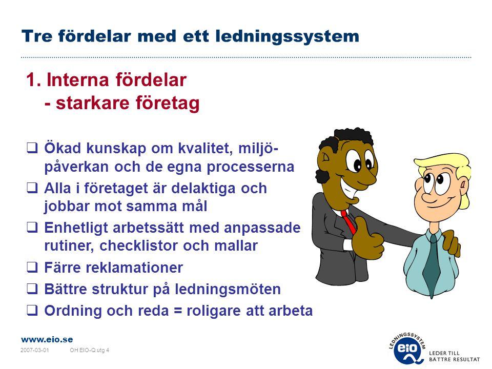 www.eio.se 2007-03-01OH EIO-Q utg 4 Tre fördelar med ett ledningssystem 1.