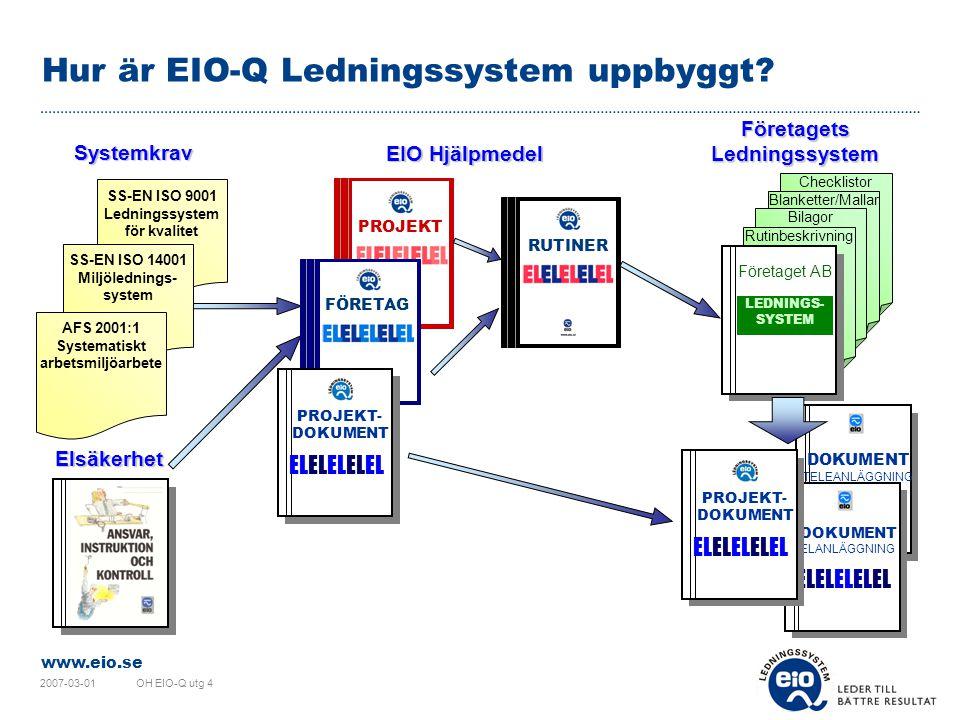 www.eio.se 2007-03-01OH EIO-Q utg 4 Hemsida www.eio-q.se  Allmän information om EIO-Q Ledningssystem finns på hemsidan.