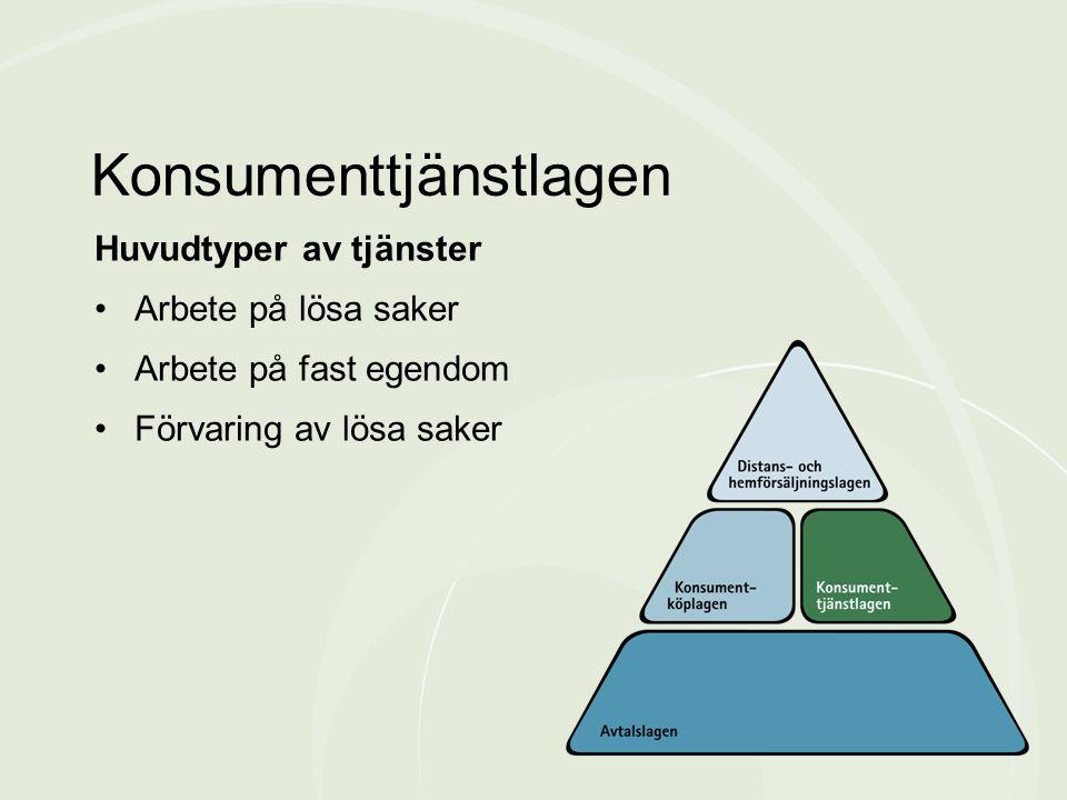 Huvudtyper av tjänster •Arbete på lösa saker •Arbete på fast egendom •Förvaring av lösa saker Konsumenttjänstlagen