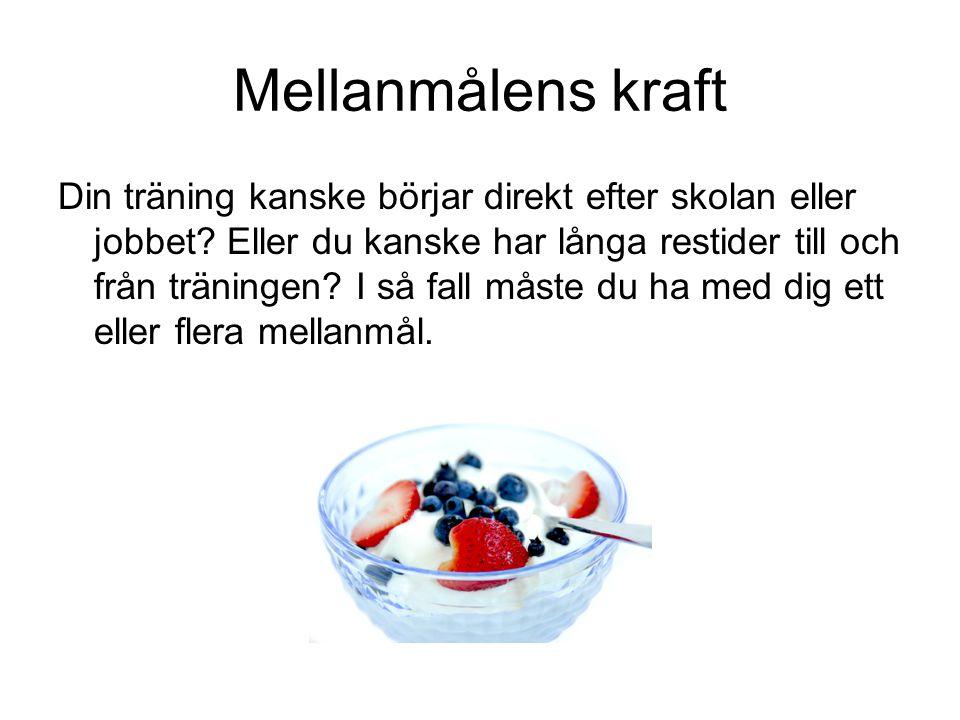 Förslag på mellanmål Frukt/grönsaker och eller spannmål i kombination med något proteinrikt livsmedel.