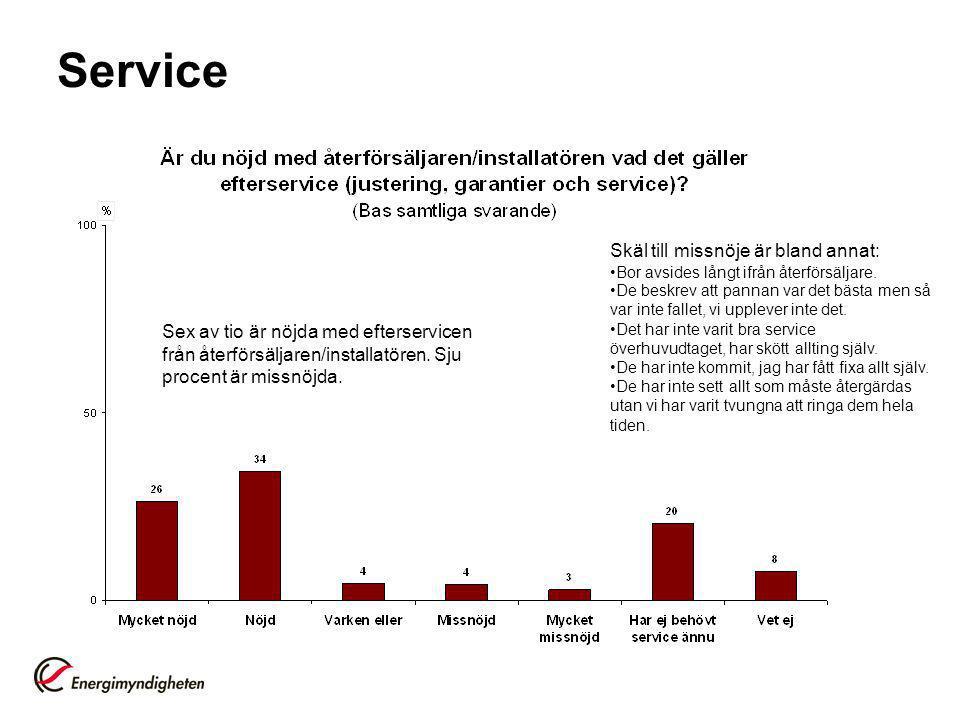 Service Skäl till missnöje är bland annat: •Bor avsides långt ifrån återförsäljare.
