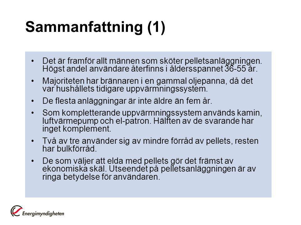 Sammanfattning (1) •Det är framför allt männen som sköter pelletsanläggningen.