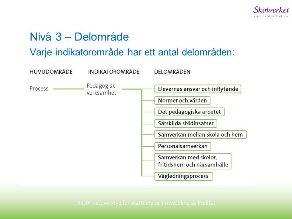 Nivå 3 – Delområde Varje indikatorområde har ett antal delområden: