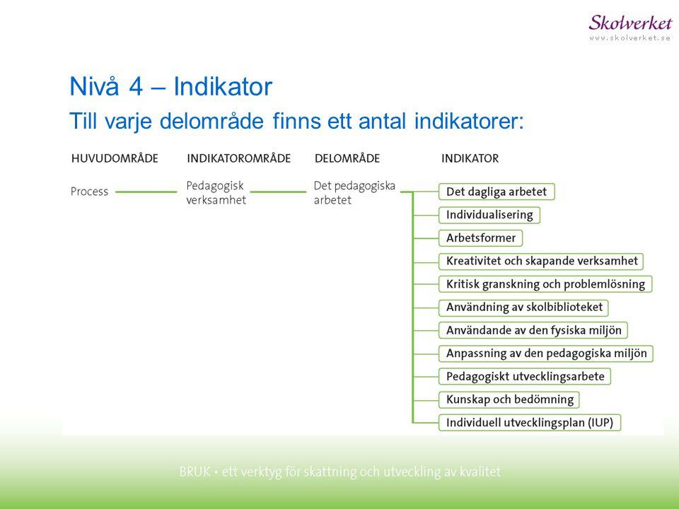 Nivå 4 – Indikator Till varje delområde finns ett antal indikatorer: