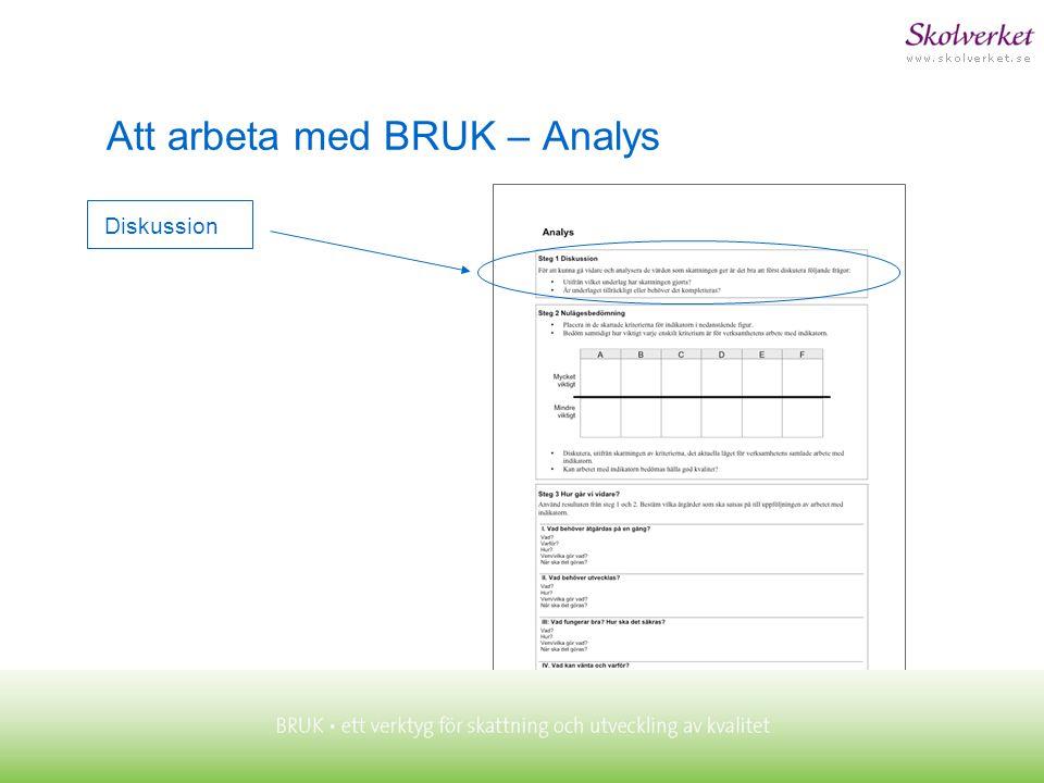 Diskussion Att arbeta med BRUK – Analys