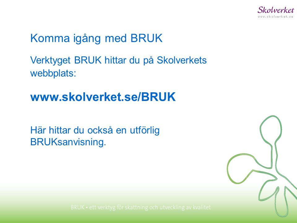 Komma igång med BRUK Verktyget BRUK hittar du på Skolverkets webbplats: www.skolverket.se/BRUK Här hittar du också en utförlig BRUKsanvisning.