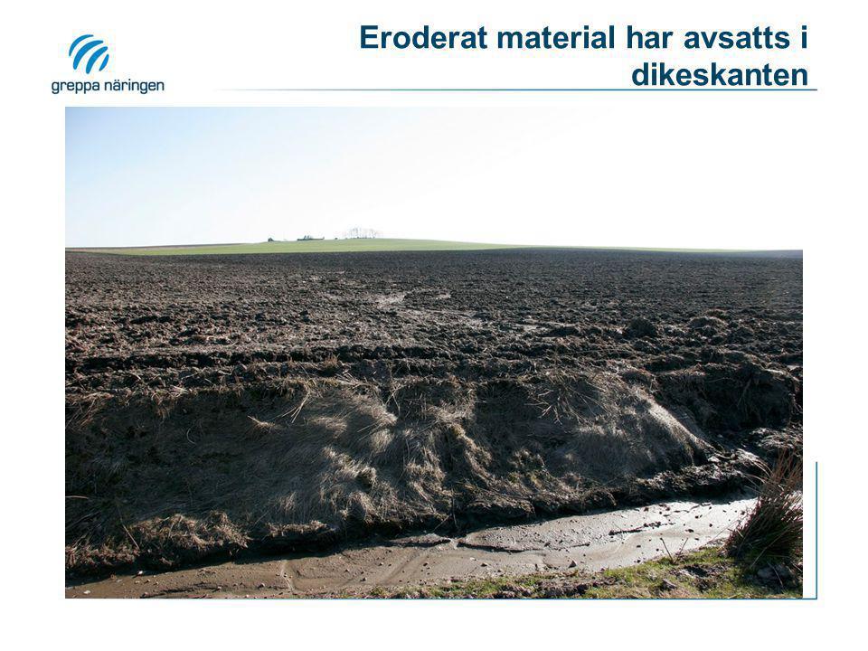 Eroderat material har avsatts i dikeskanten