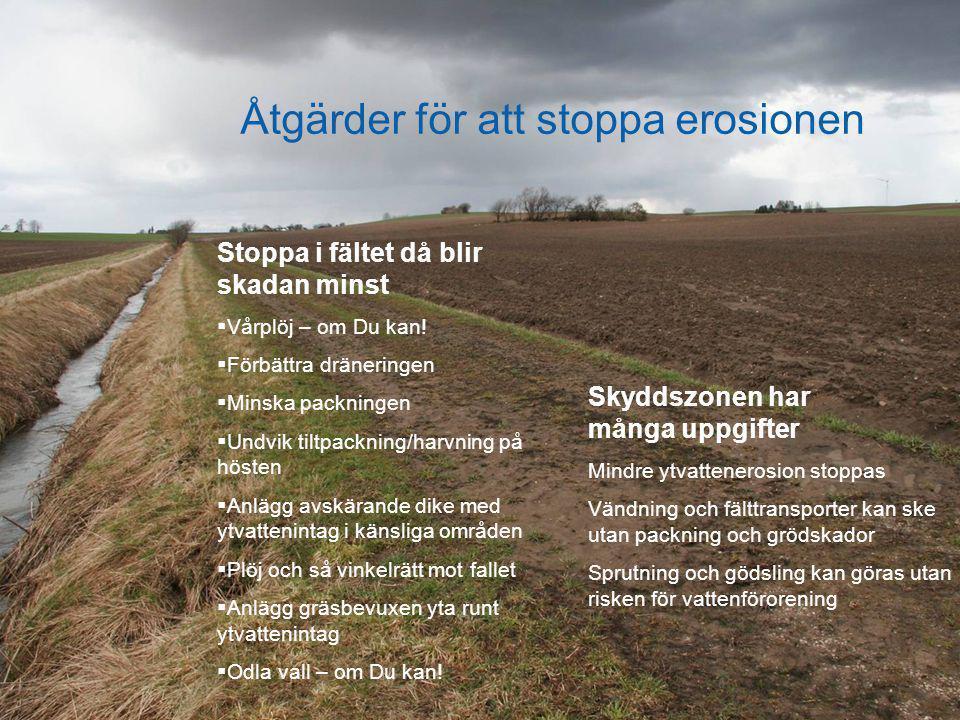 Åtgärder för att stoppa erosionen Stoppa i fältet då blir skadan minst  Vårplöj – om Du kan!  Förbättra dräneringen  Minska packningen  Undvik til