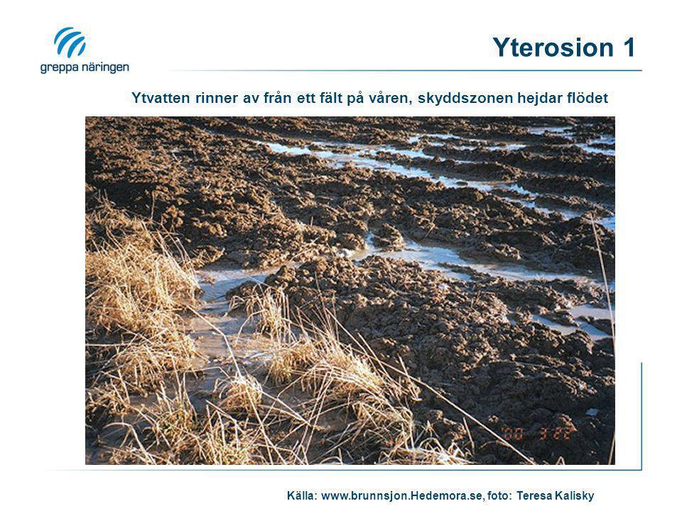 Ytvatten rinner av från ett fält på våren, skyddszonen hejdar flödet Källa: www.brunnsjon.Hedemora.se, foto: Teresa Kalisky Yterosion 1