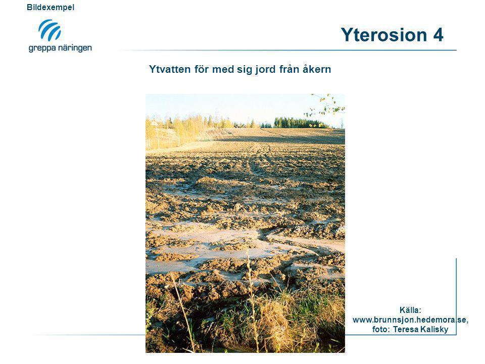 Yterosion 4 Källa: www.brunnsjon.hedemora.se, foto: Teresa Kalisky Bildexempel Ytvatten för med sig jord från åkern