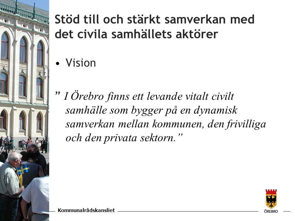 Kommunalrådskansliet KAPITEL Stöd till och stärkt samverkan med det civila samhällets aktörer •Vision I Örebro finns ett levande vitalt civilt samhälle som bygger på en dynamisk samverkan mellan kommunen, den frivilliga och den privata sektorn.