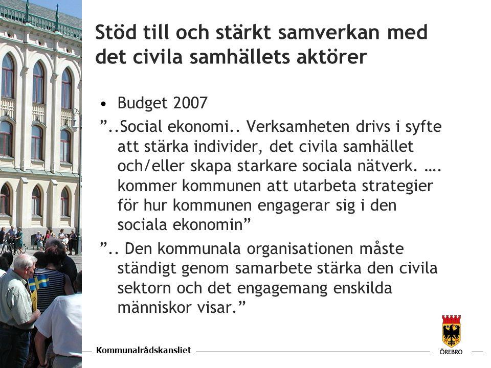 Kommunalrådskansliet KAPITEL Stöd till och stärkt samverkan med det civila samhällets aktörer •Budget 2007 ..Social ekonomi..