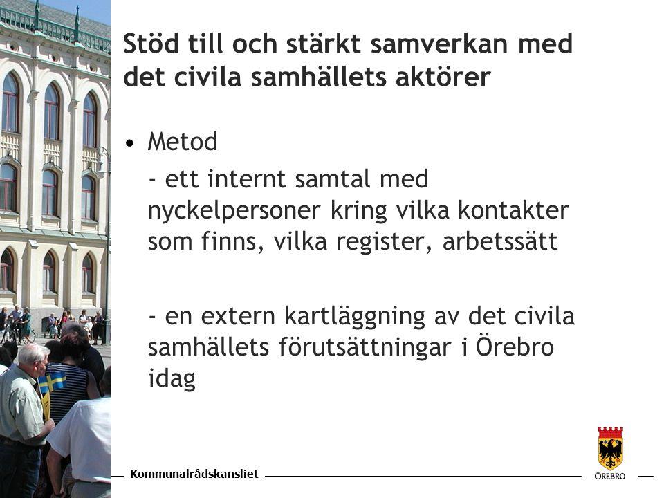 Kommunalrådskansliet KAPITEL Stöd till och stärkt samverkan med det civila samhällets aktörer •Metod - ett internt samtal med nyckelpersoner kring vilka kontakter som finns, vilka register, arbetssätt - en extern kartläggning av det civila samhällets förutsättningar i Örebro idag