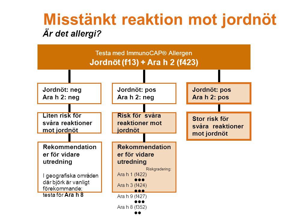 Rekommendation er för vidare utredning Riskgradering: Ara h 1 (f422)  Ara h 3 (f424)  Ara h 9 (f427)  Ara h 8 (f352)  CCD (Ro214)  Jordnöt: pos Ara h 2: neg Risk för svåra reaktioner mot jordnöt Jordnöt: neg Ara h 2: neg Rekommendation er för vidare utredning I geografiska områden där björk är vanligt förekommande; testa för Ara h 8 Liten risk för svåra reaktioner mot jordnöt Jordnöt: pos Ara h 2: pos Stor risk för svåra reaktioner mot jordnöt Misstänkt reaktion mot jordnöt Är det allergi.