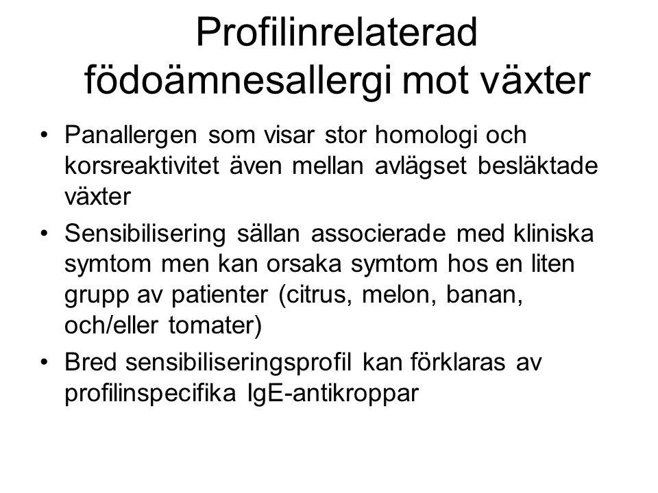 Lagringsproteinrelaterad födoämnesallergi mot växter (Storage proteins) •Stabila mot upphettning och digestion, f.a.
