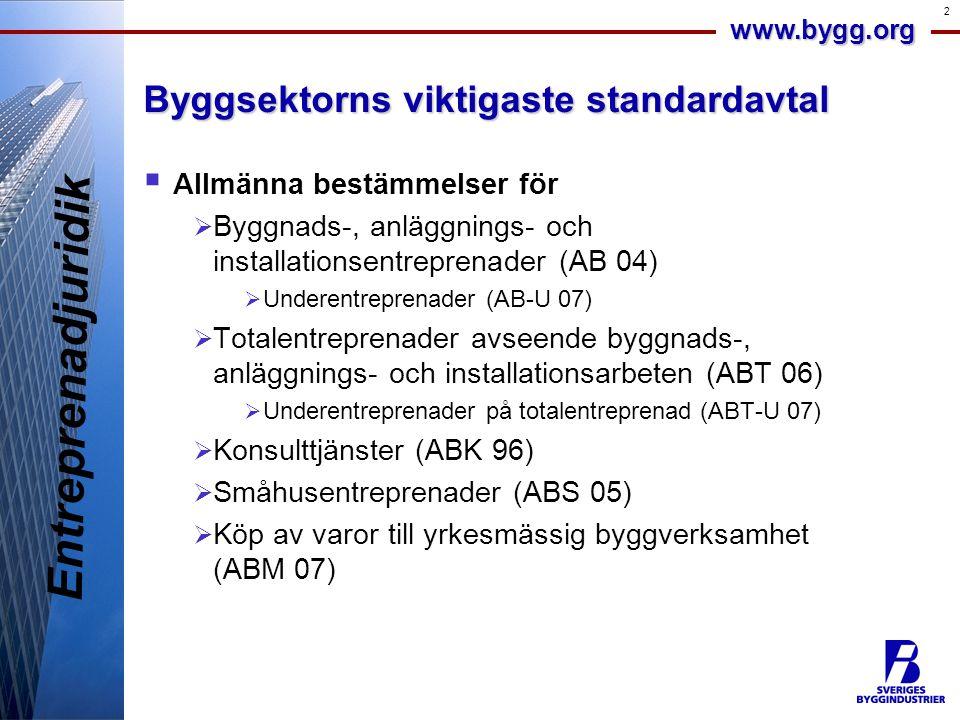 www.bygg.org 2 Byggsektorns viktigaste standardavtal  Allmänna bestämmelser för  Byggnads-, anläggnings- och installationsentreprenader (AB 04)  Un