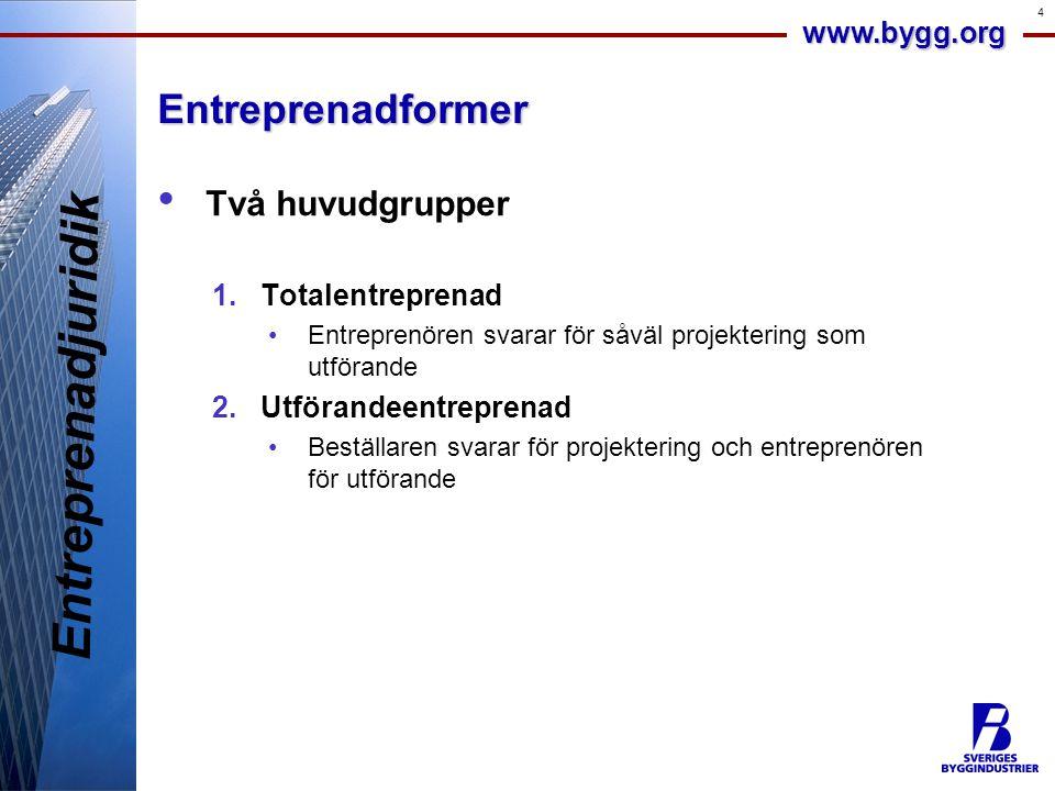 www.bygg.org 4Entreprenadformer • Två huvudgrupper 1.Totalentreprenad •Entreprenören svarar för såväl projektering som utförande 2.Utförandeentreprena