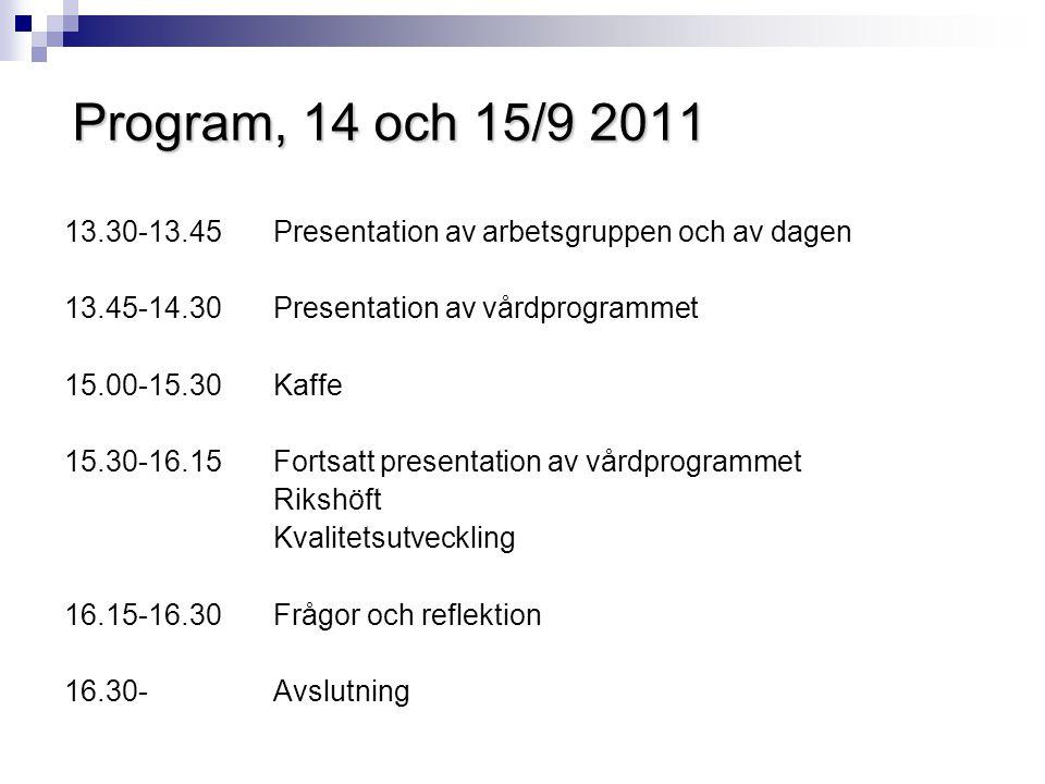 Program, 14 och 15/9 2011 13.30-13.45 Presentation av arbetsgruppen och av dagen 13.45-14.30 Presentation av vårdprogrammet 15.00-15.30 Kaffe 15.30-16