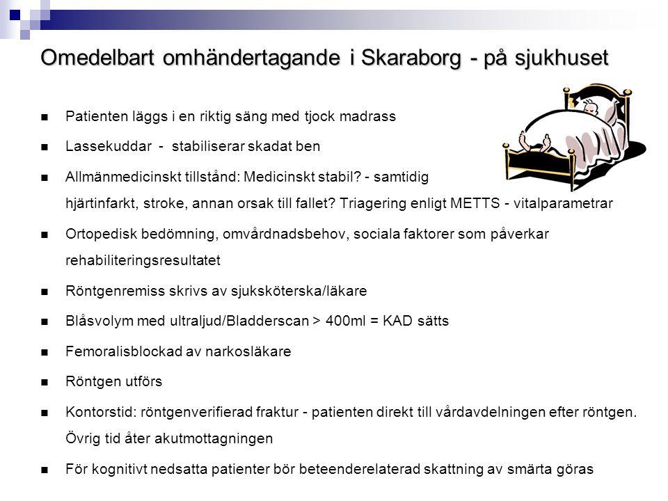 Omedelbart omhändertagande i Skaraborg - på sjukhuset  Patienten läggs i en riktig säng med tjock madrass  Lassekuddar - stabiliserar skadat ben  A