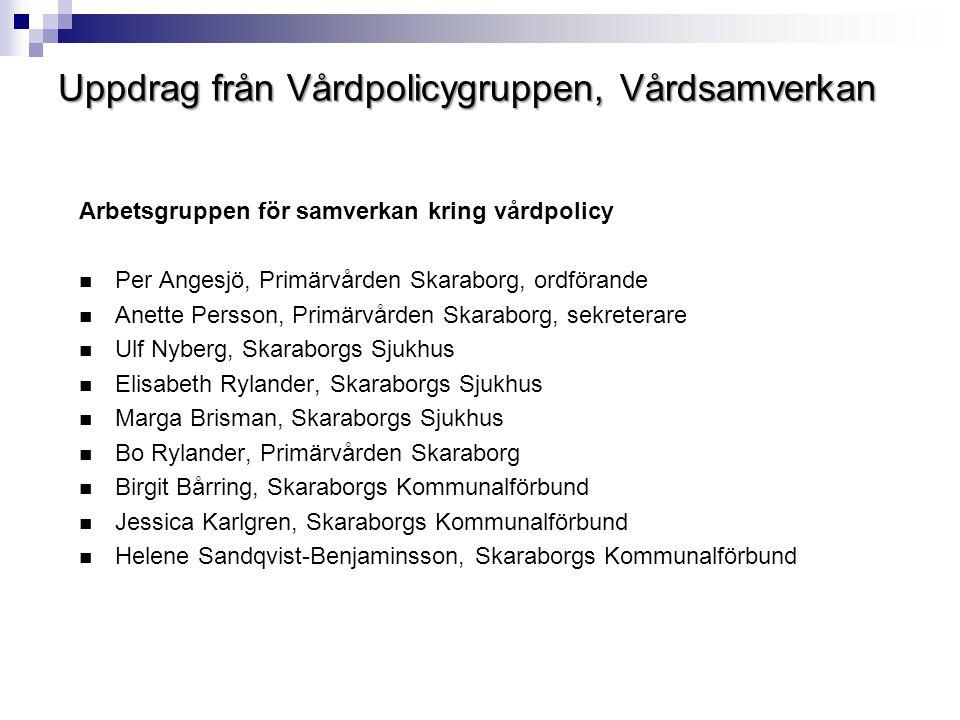 Uppdrag från Vårdpolicygruppen, Vårdsamverkan Arbetsgruppen för samverkan kring vårdpolicy  Per Angesjö, Primärvården Skaraborg, ordförande  Anette