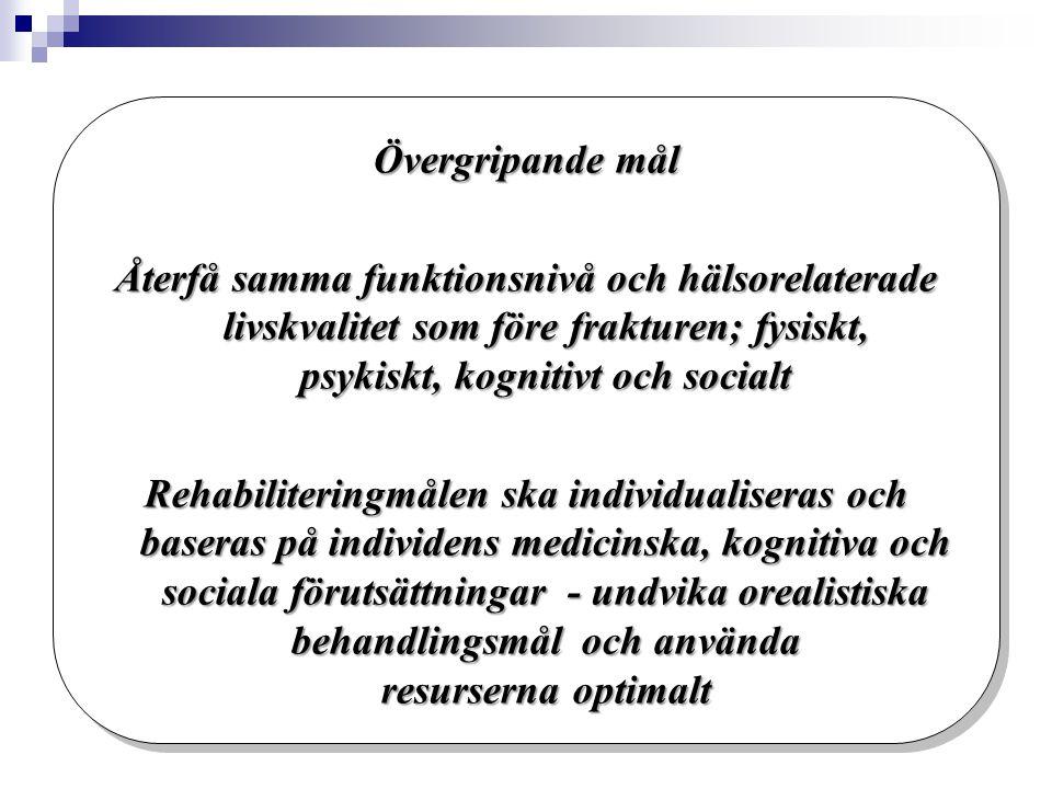 Rehabiliteringsåtgärder Skaraborg - på vårdavdelningen  Individuell rehabiliteringsplan tas fram: Rehabiliteringsmål baserade på patientens medicinska, kognitiva och sociala förutsättningar  Generell rehabiliteringsplan med tidig postoperativ mobilisering grund  Patient och närstående ska vara delaktiga i rehabiliteringsplanen  Daglig mobilisering sköts av undersköterskor och sjuksköterskor  Patientens rädsla att falla på nytt ska bearbetas.