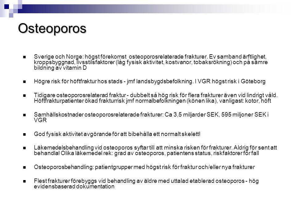  Sverige och Norge: högst förekomst osteoporosrelaterade frakturer. Ev samband ärftlighet, kroppsbyggnad, livsstilsfaktorer (låg fysisk aktivitet, ko