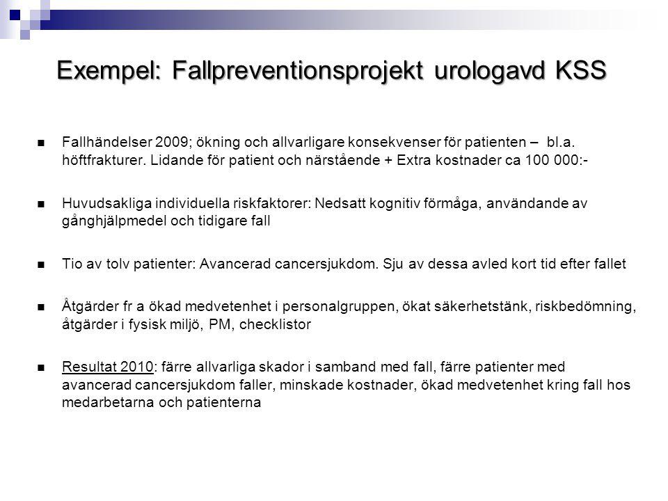 Exempel: Fallpreventionsprojekt urologavd KSS  Fallhändelser 2009; ökning och allvarligare konsekvenser för patienten – bl.a. höftfrakturer. Lidande