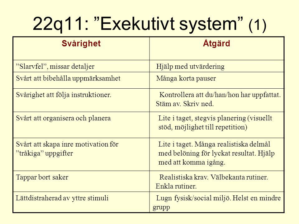 """22q11: """"Exekutivt system"""" (1) SvårighetÅtgärd """"Slarvfel"""", missar detaljer Hjälp med utvärdering Svårt att bibehålla uppmärksamhet Många korta pauser S"""