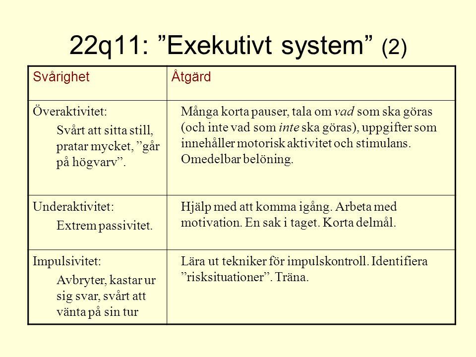 """22q11: """"Exekutivt system"""" (2) SvårighetÅtgärd Överaktivitet: Svårt att sitta still, pratar mycket, """"går på högvarv"""". Många korta pauser, tala om vad s"""