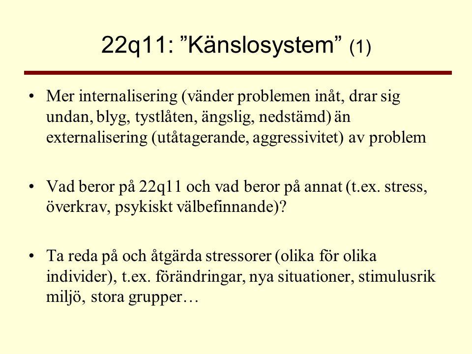 """22q11: """"Känslosystem"""" (1) •Mer internalisering (vänder problemen inåt, drar sig undan, blyg, tystlåten, ängslig, nedstämd) än externalisering (utåtage"""