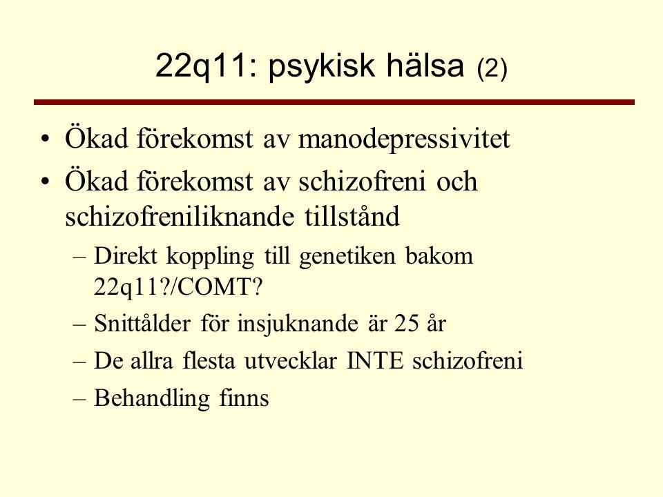 22q11: psykisk hälsa (2) •Ökad förekomst av manodepressivitet •Ökad förekomst av schizofreni och schizofreniliknande tillstånd –Direkt koppling till g