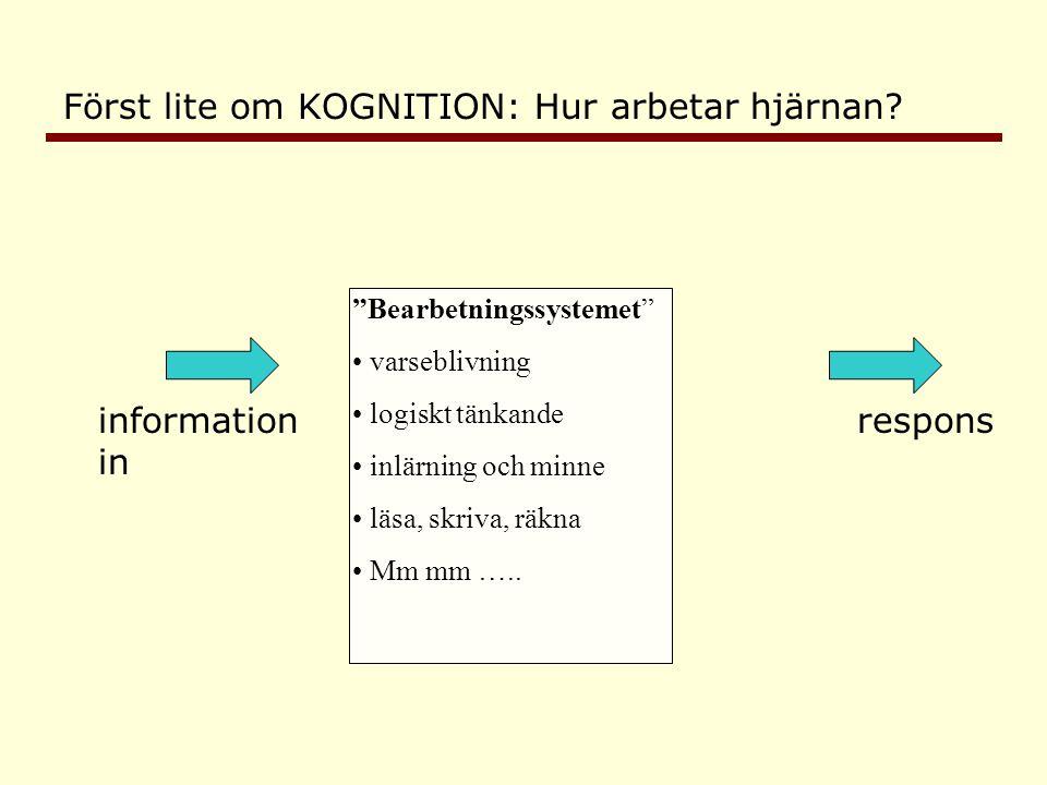 information in respons Bearbetningssystem • varseblivning • logiskt tänkande • inlärning och minne • läsa, skriva, räkna • mm mm … Exekutivt system = ändamålsenlig styrning av tankar, känslor, beteenden.