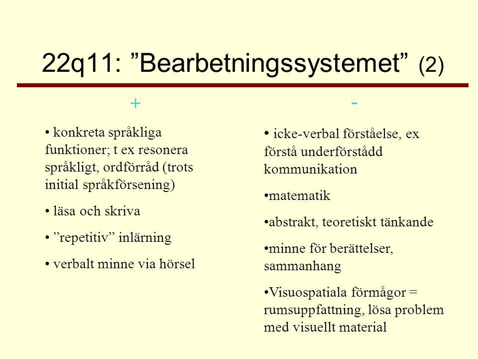 22q11: Bearbetningssystemet (3) •Kravnivån ska vara realistisk: –Konkret och tydlig information, lite i taget –Flera sätt att ta in information (visuellt stöd) –Lagom tempo –Möjlighet till upprepning –Stämma av att kravnivån var rätt –Att kunna fråga när man inte har förstått •Överkrav leder till stress •Stress försämrar inlärningsförmågan