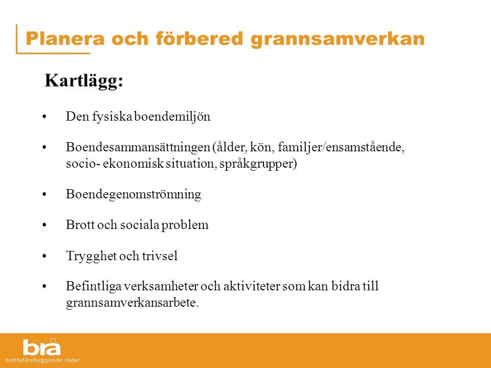 Planera och förbered grannsamverkan Kartlägg: •Den fysiska boendemiljön •Boendesammansättningen (ålder, kön, familjer/ensamstående, socio- ekonomisk s