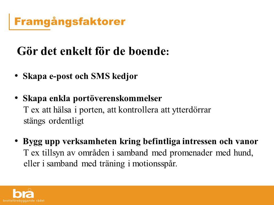 • Skapa e-post och SMS kedjor • Skapa enkla portöverenskommelser T ex att hälsa i porten, att kontrollera att ytterdörrar stängs ordentligt • Bygg upp