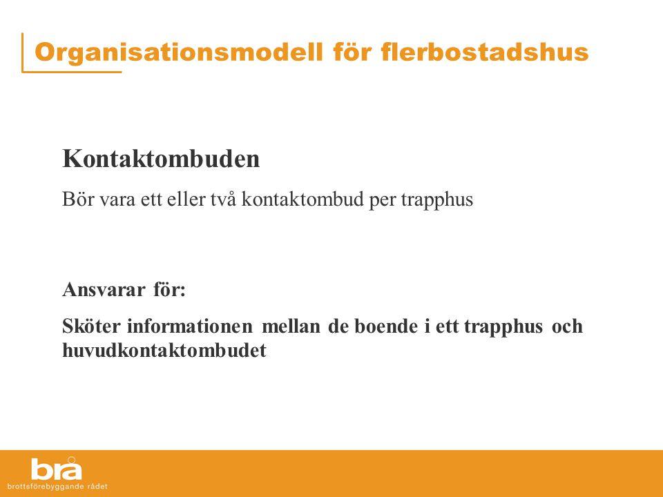 Organisationsmodell för flerbostadshus Kontaktombuden Bör vara ett eller två kontaktombud per trapphus Ansvarar för: Sköter informationen mellan de boende i ett trapphus och huvudkontaktombudet