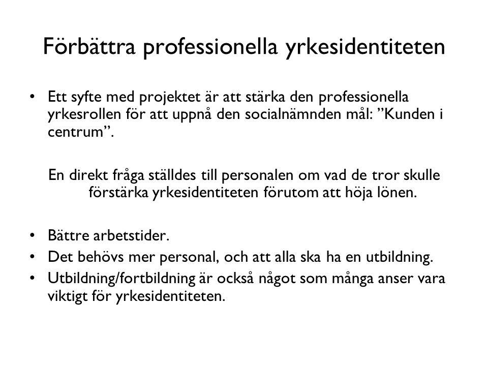 """Förbättra professionella yrkesidentiteten •Ett syfte med projektet är att stärka den professionella yrkesrollen för att uppnå den socialnämnden mål: """""""