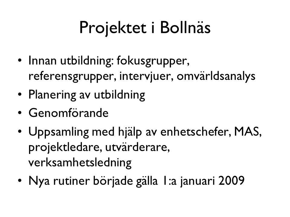 Projektet i Bollnäs •Innan utbildning: fokusgrupper, referensgrupper, intervjuer, omvärldsanalys •Planering av utbildning •Genomförande •Uppsamling me