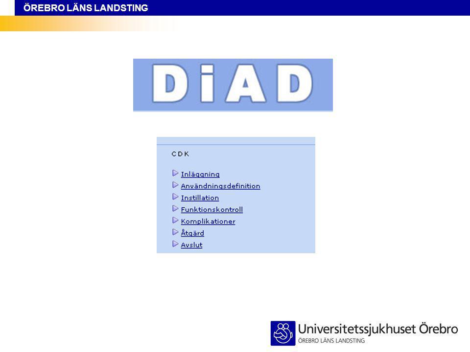 ÖREBRO LÄNS LANDSTING Hjälptext Övrig komplikation Registreras som ett tillfälle, fyll i samma start och stopp datum.
