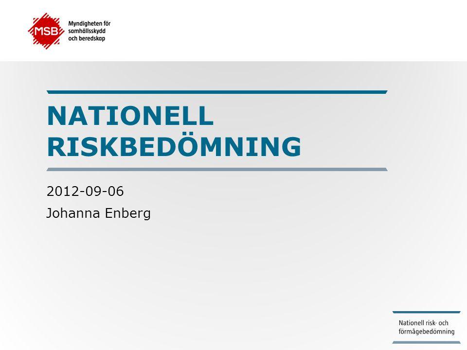 Nationell riskbedömning •EU:s rådslutsatser i april 2011 •Rapporten Ett första steg mot en nationell riskbedömning i november 2011 •Regeringsuppdrag att redovisa en nationell riskbedömning till 15 mars 2013