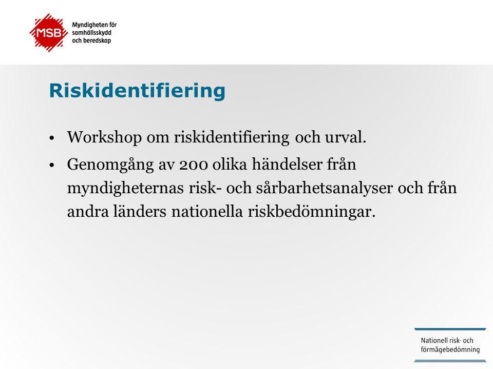 Riskidentifiering •Workshop om riskidentifiering och urval. •Genomgång av 200 olika händelser från myndigheternas risk- och sårbarhetsanalyser och frå