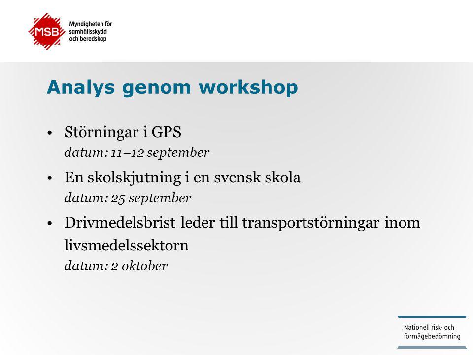 Analys genom workshop •Störningar i GPS datum: 11–12 september •En skolskjutning i en svensk skola datum: 25 september •Drivmedelsbrist leder till tra