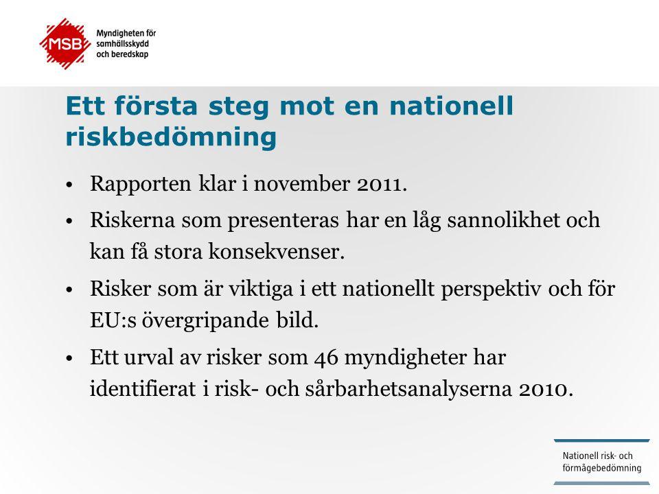 Ett första steg mot en nationell riskbedömning •Rapporten klar i november 2011. •Riskerna som presenteras har en låg sannolikhet och kan få stora kons