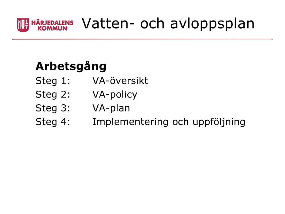 Vatten- och avloppsplan Arbetsgång Steg 1: VA-översikt Steg 2: VA-policy Steg 3: VA-plan Steg 4: Implementering och uppföljning